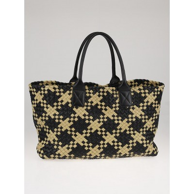 Bottega Veneta Black/Mineral Pied de Poule Intrecciato Woven Leather Medium Cabat Tote Bag
