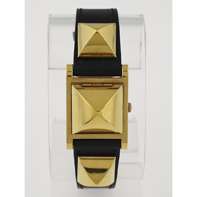 Hermes Black Box Leather Gold Plated Medor Studded Quartz Watch