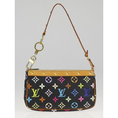Louis Vuitton Black Monogram Multicolore Accessories Pochette Bag w/ Strap Extender
