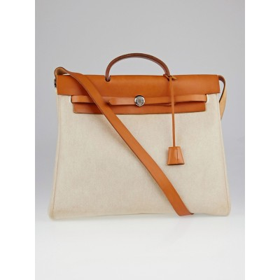 Hermes 35cm Natural Toile and Vache Calfskin Leather Herbag MM 2-in-1 Bag