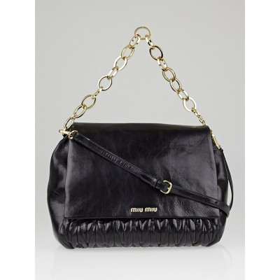 Miu Miu Black Matelasse Lux Leather Chain Flap Bag RN0916