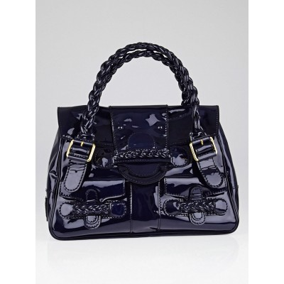 Valentino Garavani Navy Blue Patent Leather Histoire Satchel Bag