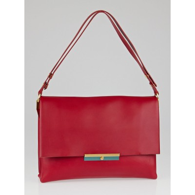 Celine Red Palmelato Calfskin Leather Blade Flap Bag