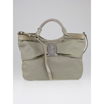 Salvatore Ferragamo Grey Nylon and Patent Leather Iside Tote Bag