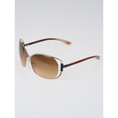 Tom Ford Gold Frame Gradient Tint Eugenia Sunglasses-TF 156