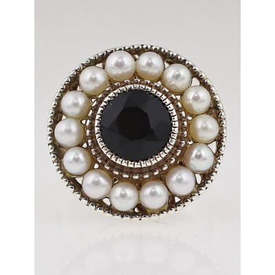 Tiffany & Co. Pearl and Black Onyx Ziegfeld Ring Size 7
