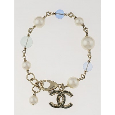 Chanel Glass Pearl and Beaded Gripoix CC Bracelet