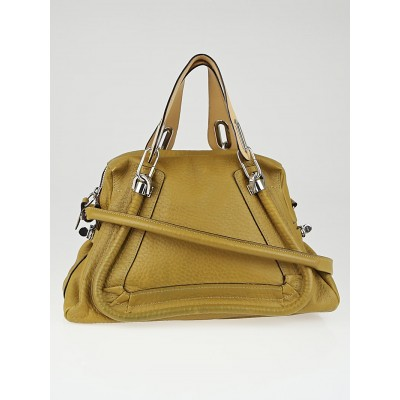 Chloe Gold Savana Grained Calfskin Leather Paraty Bag