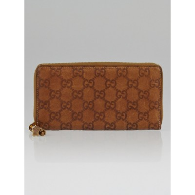 Gucci Light Brown Guccissima Leather Bamboo Tassel Zip Around Wallet
