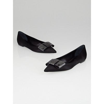 Louis Vuitton Black Satin Eel Bow Lipstick Ballet Flats Size 7.5/38