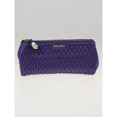 Miu Miu Viola Nappa Crystal Leather Clutch Bag