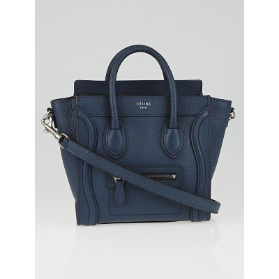 Celine Navy Blue Drummed Leather Nano Luggage Tote Bag