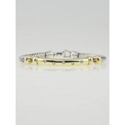 David Yurman Sterling Silver and 18k Gold Diamonds Metro Bracelet