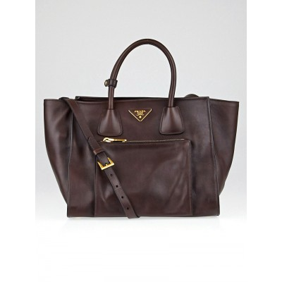 Prada Nocciolo Soft Calf Leather Double Handle Tote Bag BN2626