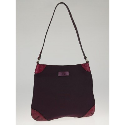 Gucci Violet Canvas and Guccissima Leather Trim Hobo Bag
