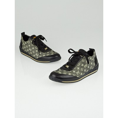 Louis Vuitton Black Monogram Mini Lin Sneakers Size 6.5/37