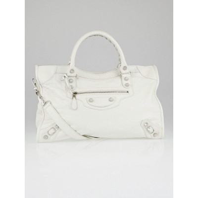 Balenciaga White Lambskin Leather Giant 12 Silver Motorcycle City Bag