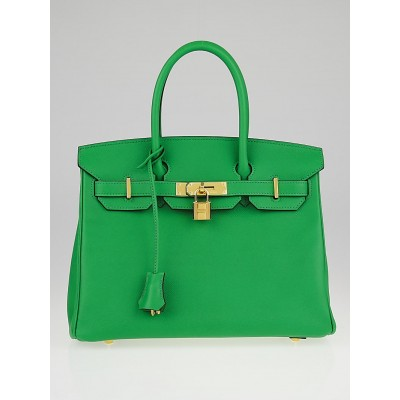 Hermes 30cm Bamboo Epsom Leather Gold Plated Birkin Bag