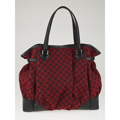 Gucci Red/Black GG Canvas Full Moon Tote Bag