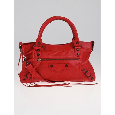 Balenciaga Coquelicot Lambskin Leather Motorcycle First Bag