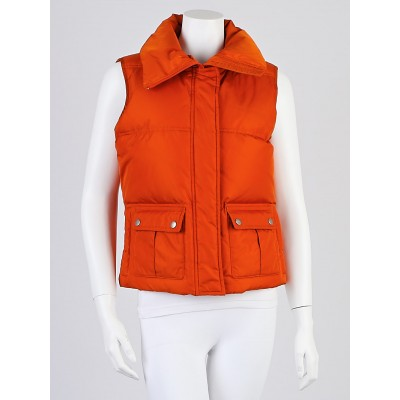 Burberry London Orange Nylon Puffer Vest Size S