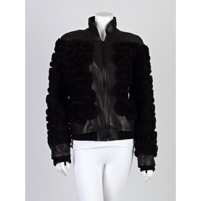 Chanel Black Lambskin Leather and Shearling Floral Motorcycle Jacket Size 8/40