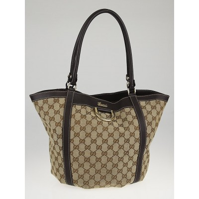 Gucci Beige/Ebony GG Canvas D-Ring Large Tote Bag