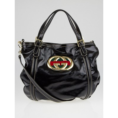 Gucci Black Dialux Britt Hobo Bag