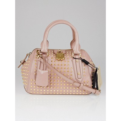 Burberry Oyster Pink Studded Patent Leather Small Blaze Bowler Bag