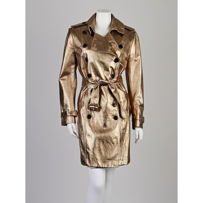 Burberry London Metallic Gold Lambskin Leather Double Breasted Trench Coat Size 14