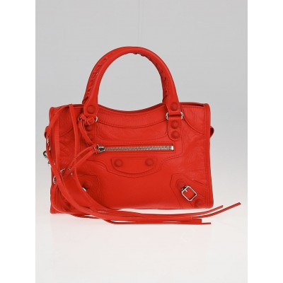 Balenciaga Poppy Chevre Leather Rubber Motorcycle Mini City Bag