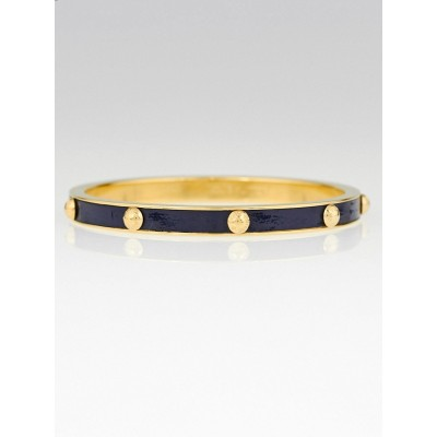 Louis Vuitton Marine Leather and Metal Gimme a Clue Bangle Bracelet Size M