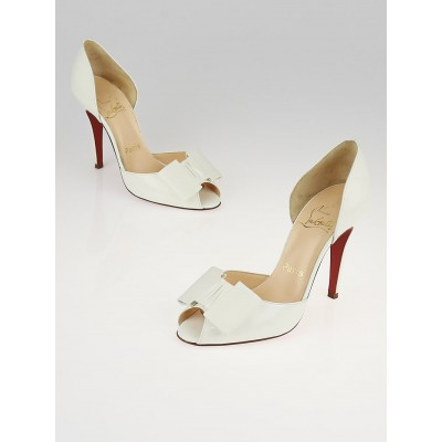 Christian Louboutin White Patent Leather Joli-Noeud Dorcet D'Orsay Heels Size 6/36.5