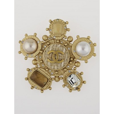 Chanel Goldtone and Gripoix Poured Glass CC Brooch