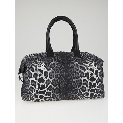 Yves Saint Laurent Black/White Leopard Print Nylon Easy Y Bag