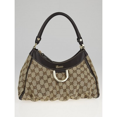 Gucci Beige/Ebony GG Canvas Small D-Ring Hobo Bag