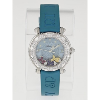 Chopard Blue Stainless Steel and Diamond Happy Sport Happy Beach Fish Ladies Watch