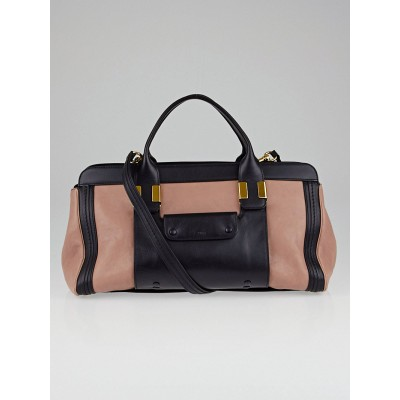 Chloe Pink/Black Calfskin Leather Medium Alice Satchel Bag