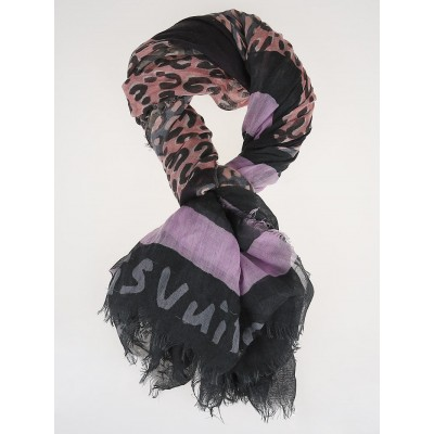 Louis Vuitton Grey Rose Leopard V Cashmere/Silk Stole Scarf
