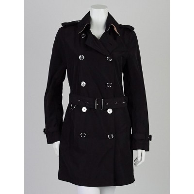 Burberry Brit Black Polyester Buckingham Packable Trench Coat Size 8