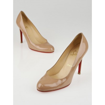 Christian Louboutin Nude Patent Leather Simple 100 Pumps Size 7.5/38