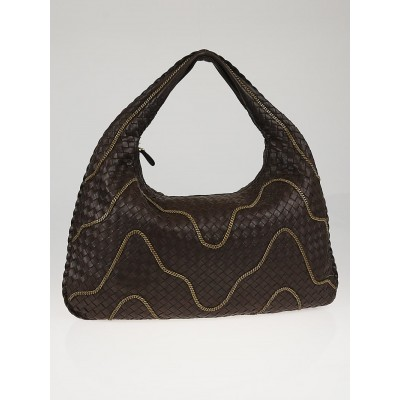 Bottega Veneta Ebano Intrecciato Woven Nappa Leather Chain Large Veneta Hobo Bag