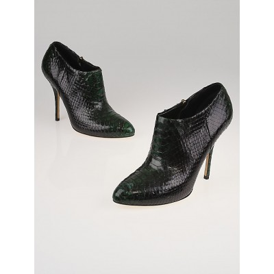 Gucci Green Python Ankle Booties Size 8.5/39