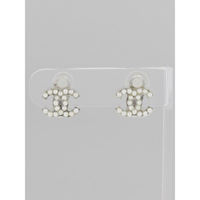 Chanel Faux Pearl CC Clip-On Earrings