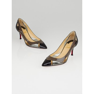 Christian Louboutin Black/Taupe/Silver Patent Leather and PVC Galata 70 Pumps Size 6/36.5