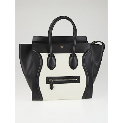 Celine Black/White Leather Mini Luggage Tote Bag