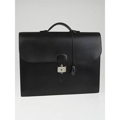 Hermes Black Box Leather Sac a Depeche 38 Briefcase Bag