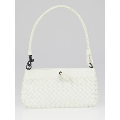 Bottega Veneta White Intrecciato Woven Leather Frame Pochette Bag