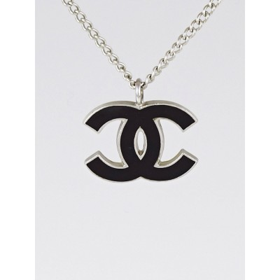 Chanel Silver/Black Enamel CC Pendant Necklace