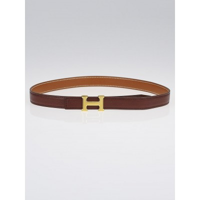 Hermes 18mm Chocolate/Gold Courchevel Gold Plated Constance H Belt Size 65